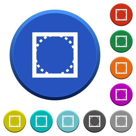 beveled corners: Rounded corner settings round color beveled buttons with smooth surfaces and flat white icons