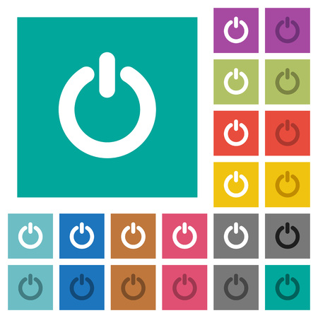 poweron: Power switch multi colored flat icons on plain square backgrounds. Included white and darker icon variations for hover or active effects.