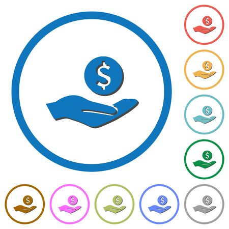 provision: Dollar earnings flat color vector icons with shadows in round outlines on white background