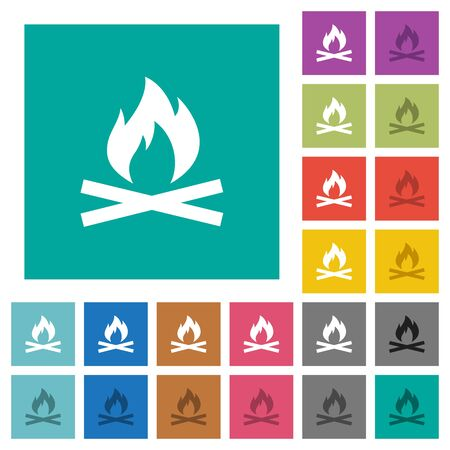 ember: Camp fire multi colored flat icons on plain square backgrounds. Included white and darker icon variations for hover or active effects.