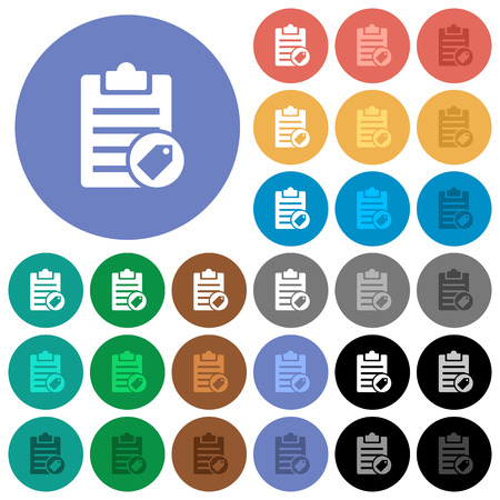 writing pad: Note tagging multi colored flat icons on round backgrounds. Included white, light and dark icon variations for hover and active status effects, and bonus shades on black backgounds. Illustration