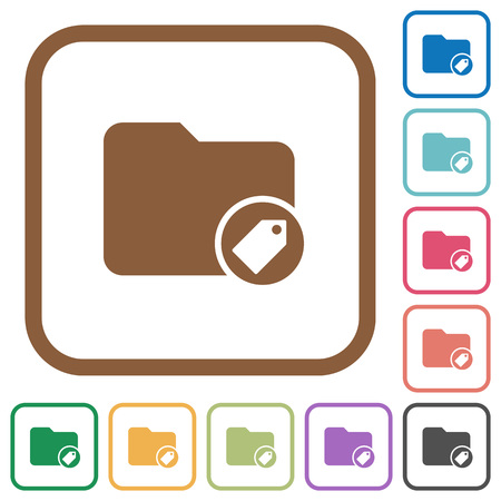 tagging: Tagging directory simple icons in color rounded square frames on white background Illustration