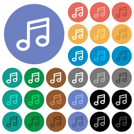tact: Music note multi colored flat icons on round backgrounds. Included white, light and dark icon variations for hover and active status effects, and bonus shades on black backgounds.
