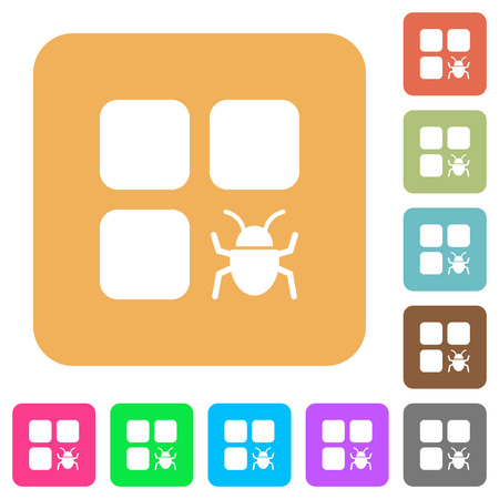 intercommunication: Component bug flat icons on rounded square vivid color backgrounds. Illustration