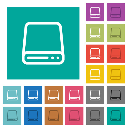 Hard disk drive multi colored flat icons on plain square backgrounds. Included white and darker icon variations for hover or active effects.