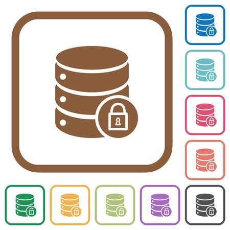 Database lock simple icons in color rounded square frames on white background