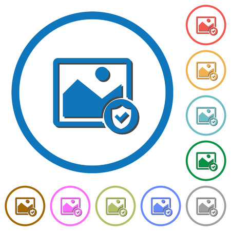 Protected image flat color vector icons with shadows in round outlines on white background