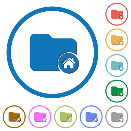 directory: Home folder flat color vector icons with shadows in round outlines on white background