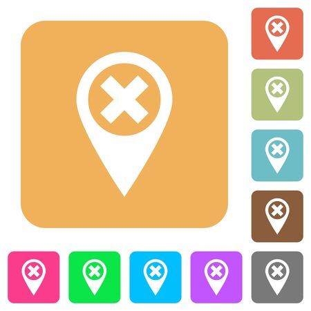 deny: Cancel GPS map location flat icons on rounded square vivid color backgrounds. Illustration