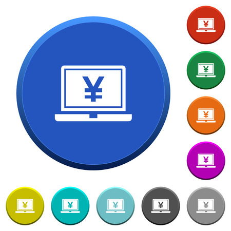 Laptop with yen sign round color beveled buttons with smooth surfaces and flat white icons