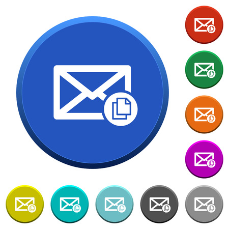 Copy mail round color beveled buttons with smooth surfaces and flat white icons