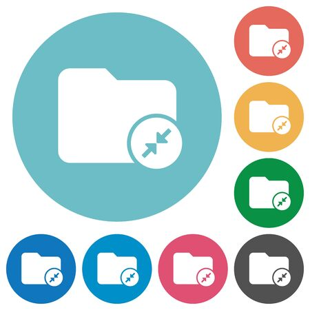 mass storage: Compress directory flat white icons on round color backgrounds Illustration