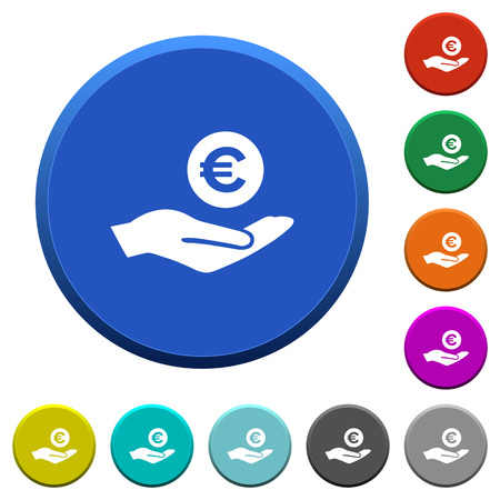 Euro earnings round color beveled buttons with smooth surfaces and flat white icons