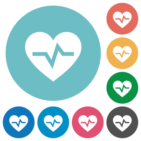 Heartbeat flat white icons on round color backgrounds Illustration