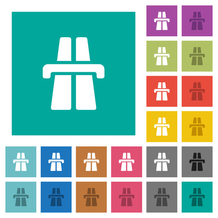 Highway multi colored flat icons on plain square backgrounds. Included white and darker icon variations for hover or active effects.