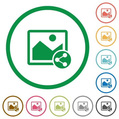 photo icon: Share image flat color icons in round outlines on white background Illustration