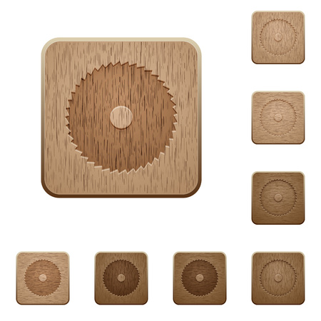 Circular saw on rounded square carved wooden button styles