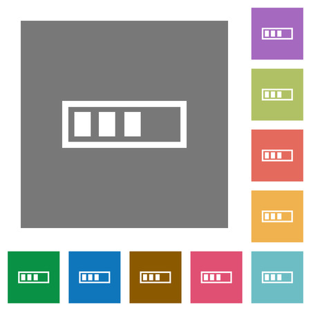 executing: Progressbar flat icons on simple color square backgrounds Illustration
