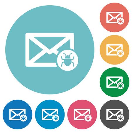 Icone bianche piatte di posta spam su sfondi di colore rotondo Archivio Fotografico - 74329670
