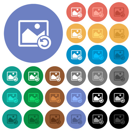 Image rotate left multi colored flat icons on round backgrounds. Included white, light and dark icon variations for hover and active status effects, and bonus shades on black backgounds. Illustration