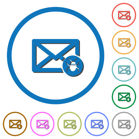 unsolicited: Spam mail flat color vector icons with shadows in round outlines on white background