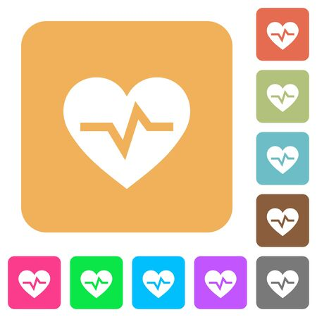 Heartbeat flat icons on rounded square vivid color backgrounds.