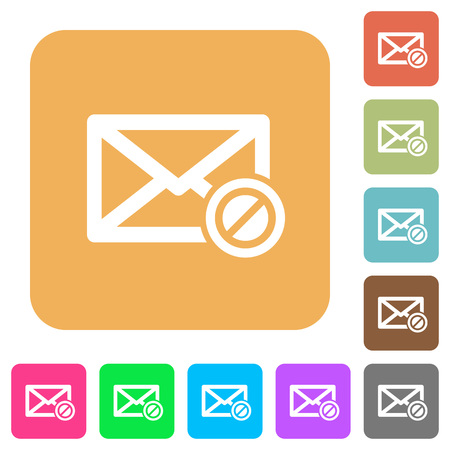 unsolicited: Blocked mail flat icons on rounded square vivid color backgrounds. Illustration