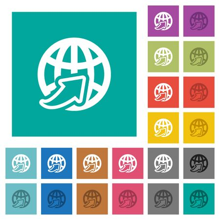 Worldwide multi colored flat icons on plain square backgrounds. Included white and darker icon variations for hover or active effects.