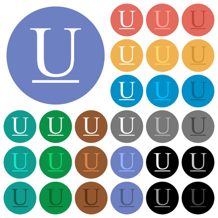 Underlined font type multi colored flat icons on round backgrounds. Included white, light and dark icon variations for hover and active status effects, and bonus shades on black backgounds.