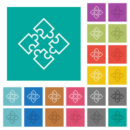 Puzzle pieces multi colored flat icons on plain square backgrounds. Included white and darker icon variations for hover or active effects. Illustration