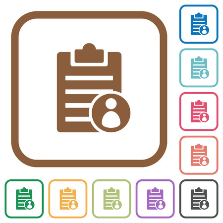 writing pad: Note owner simple icons in color rounded square frames on white background