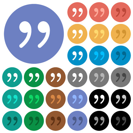 said: Quotation mark multi colored flat icons on round backgrounds. Included white, light and dark icon variations for hover and active status effects, and bonus shades on black backgounds. Illustration