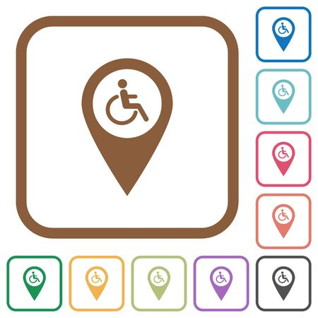 limitations: Disability accessibility GPS map location simple icons in color rounded square frames on white background Illustration
