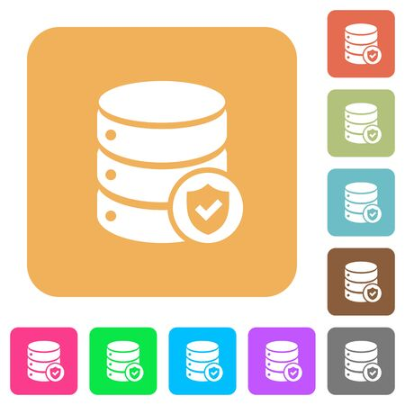 Database protected flat icons on rounded square vivid color backgrounds.