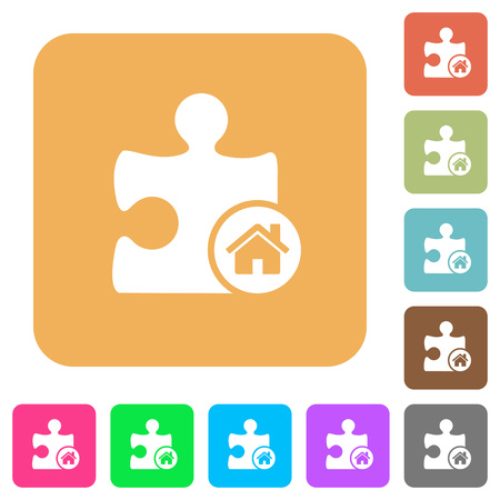 puzzle corners: Default plugin flat icons on rounded square vivid color backgrounds. Illustration