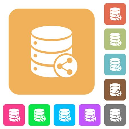 dependencies: Database table relations flat icons on rounded square vivid color backgrounds.