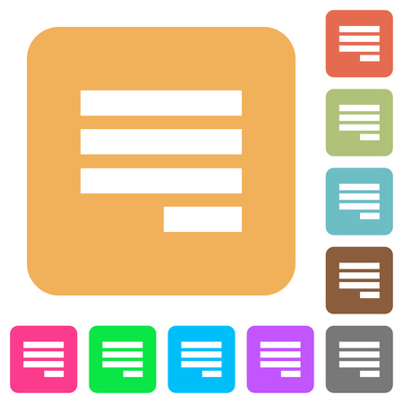 justify: Text align justify last row right flat icons on rounded square vivid color backgrounds.