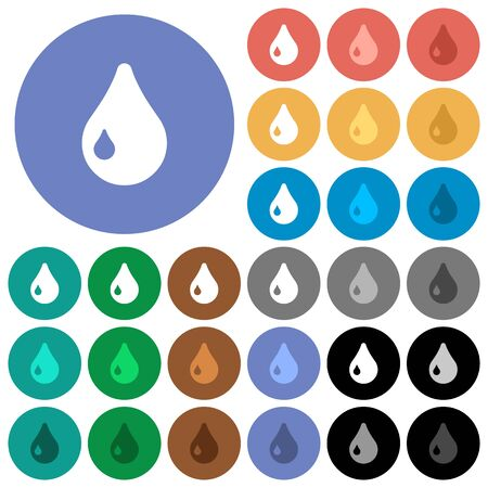Drop multi colored flat icons on round backgrounds. Included white, light and dark icon variations for hover and active status effects, and bonus shades on black backgounds.