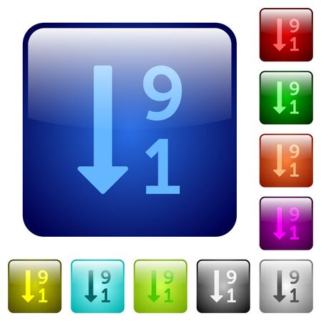 descending: Descending numbered list icons in rounded square color glossy button set