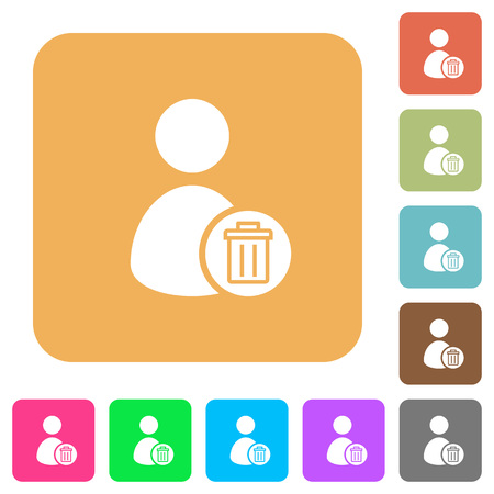 permissions: Delete user account flat icons on rounded square vivid color backgrounds. Illustration