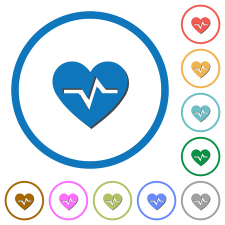 Heartbeat flat color vector icons with shadows in round outlines on white background.