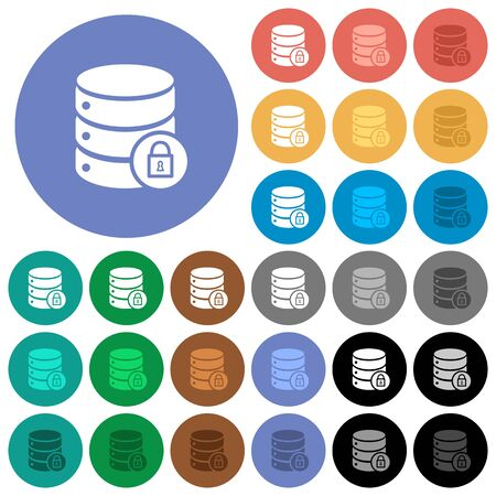 Database lock multi colored flat icons on round backgrounds. Included white, light and dark icon variations for hover and active status effects, and bonus shades on black backgounds.