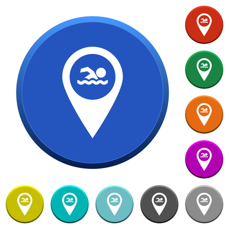 beveled: Swimming pool GPS map location round color beveled buttons with smooth surfaces and flat white icons