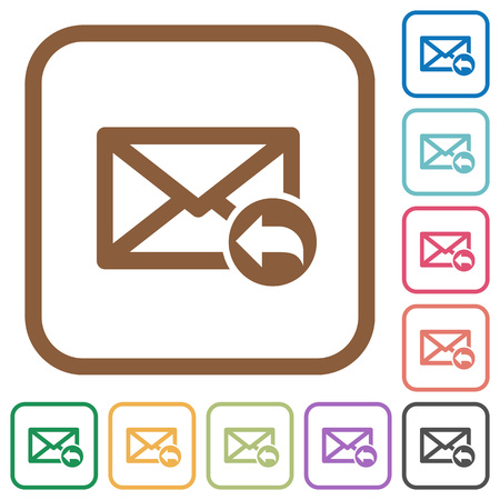 Mail reply to all recipient simple icons in color rounded square frames on white background