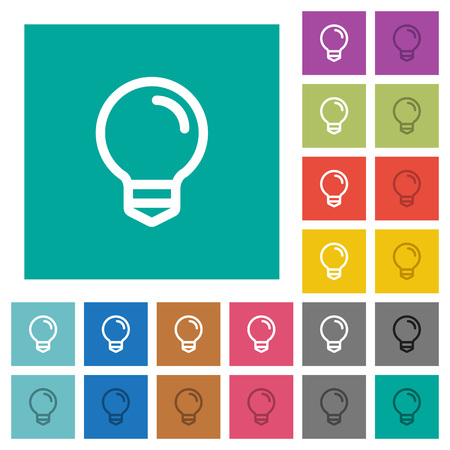 Light bulb multi colored flat icons on plain square backgrounds. Included white and darker icon variations for hover or active effects. Illustration