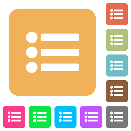 disordered: Bullet list flat icons on rounded square vivid color backgrounds.