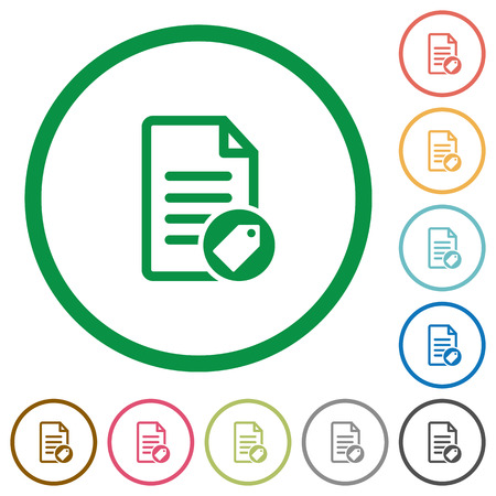 tagging: Tagging document flat color icons in round outlines on white background