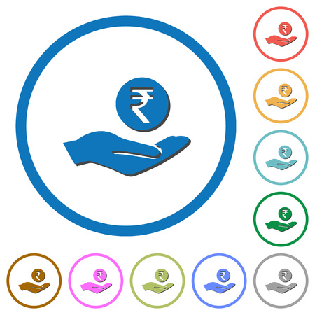 Rupee earnings flat color vector icons with shadows in round outlines on white background