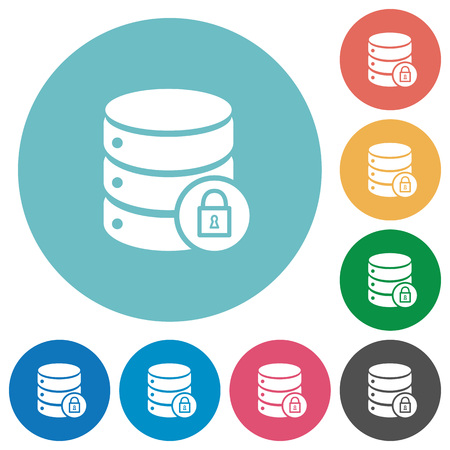 unaccessible: Database lock flat white icons on round color backgrounds