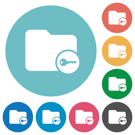 to encode: Secure directory flat white icons on round color backgrounds Illustration